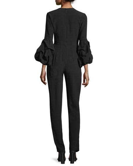 Maximila Ruched-Sleeves Skinny-Leg Crepe Jumpsuit