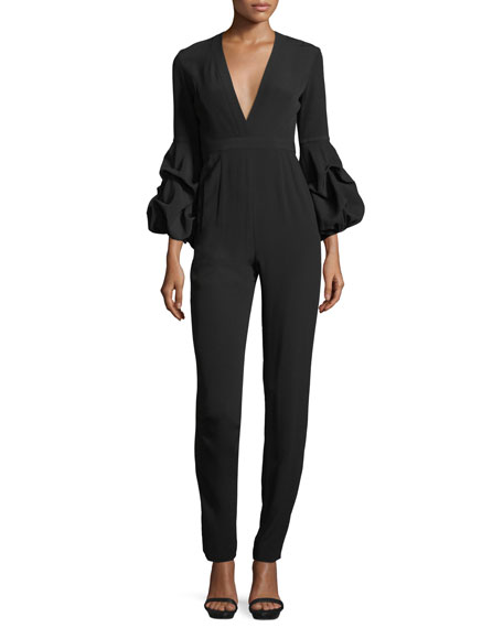 Alexis Maximila Ruched-Sleeves Skinny-Leg Crepe Jumpsuit