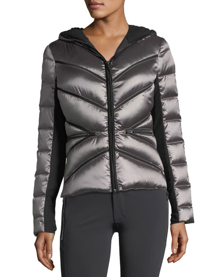 Zip-Front Mesh Inset Hooded Jacket