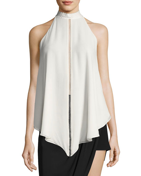 Haute Hippie Naomi Mock-Neck Asymmetric Silk Blouse w/