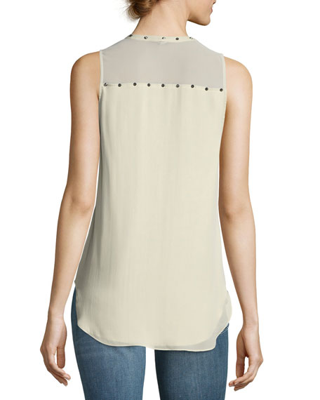 Liberty Sleeveless Silk Tank w/ Studded Trim