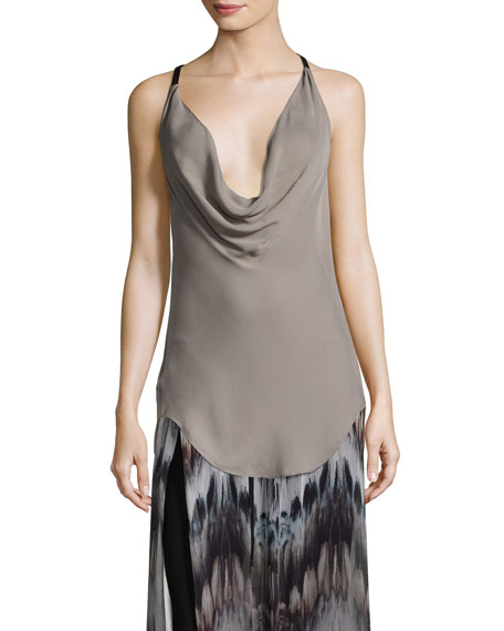 Osiris Cowl-Neck Silk Top w/ Leather Straps