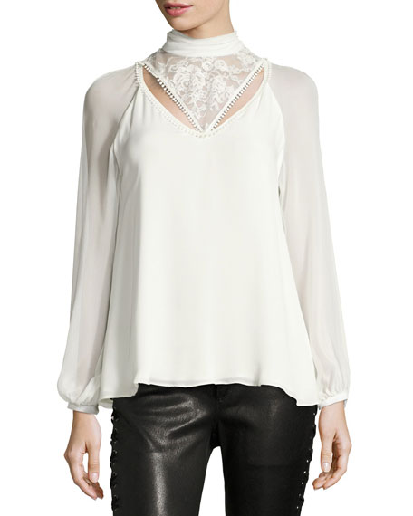 Haute Hippie Through The Looking Glass Mock-Neck Silk