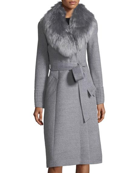 Sentaler Baby Alpaca Belted Long Coat w/ Fur