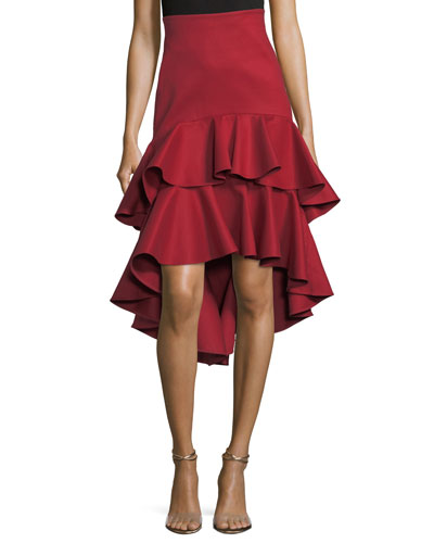Kristyn High-Low Layered Ruffled Cotton Skirt