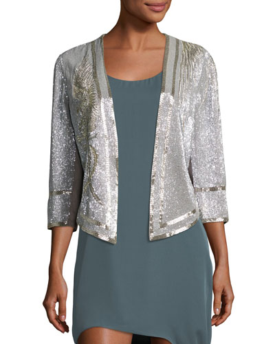 Fly High Sequined Open Front Jacket