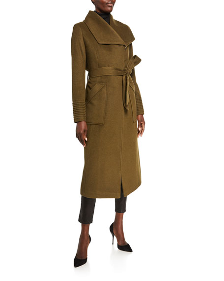 Sentaler Baby Alpaca Long Wide-Collar Wrap Coat