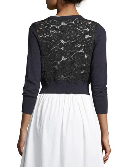 Lace-Panel Crop Cardigan