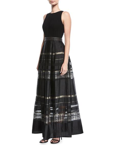 Carmen Marc Valvo Crepe Cutaway Stripe Evening Gown