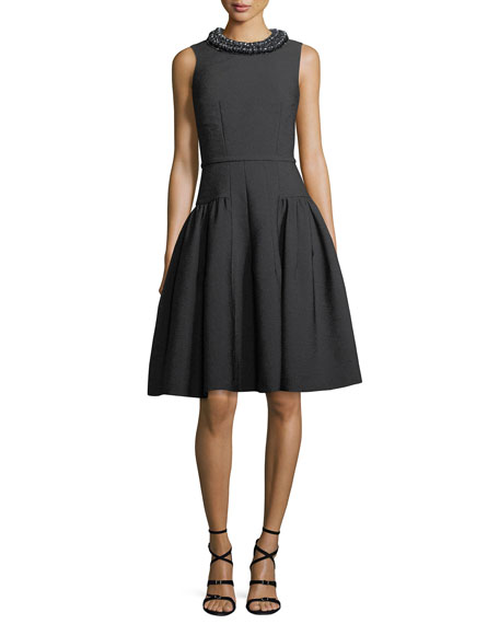 Carmen Marc Valvo Sleeveless Embellished Textured Crepe Cocktail
