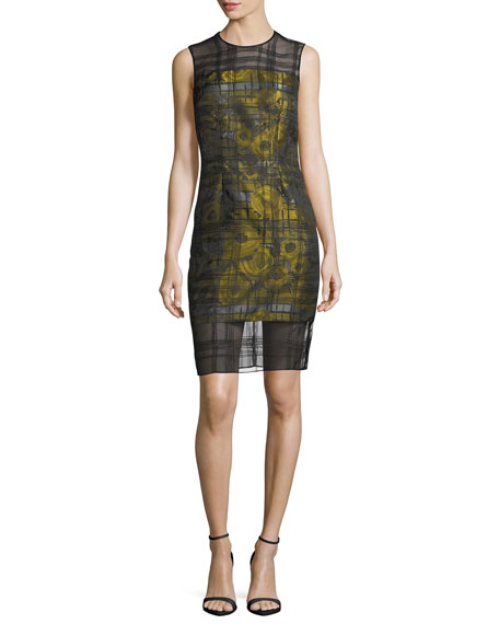 Carmen Marc Valvo Sleeveless Floral-Jacquard Embroidered Organza