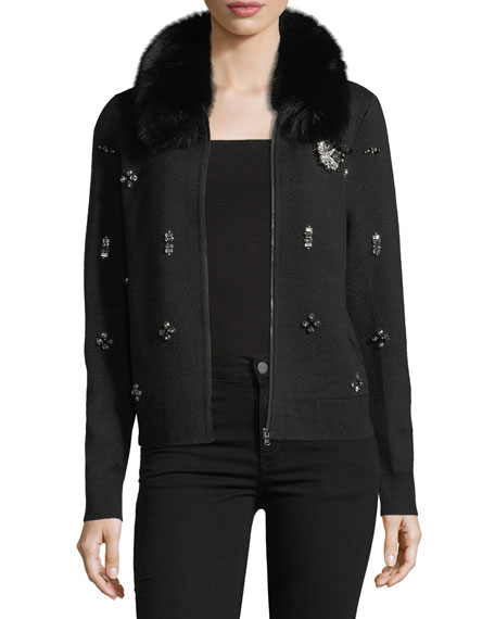 Kobi Halperin Tiana Knit Jacket w/ Fox Fur