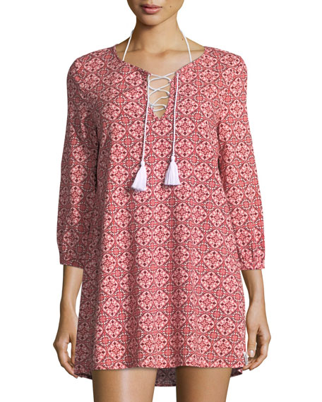 3/4-Sleeve Tile-Print Dress