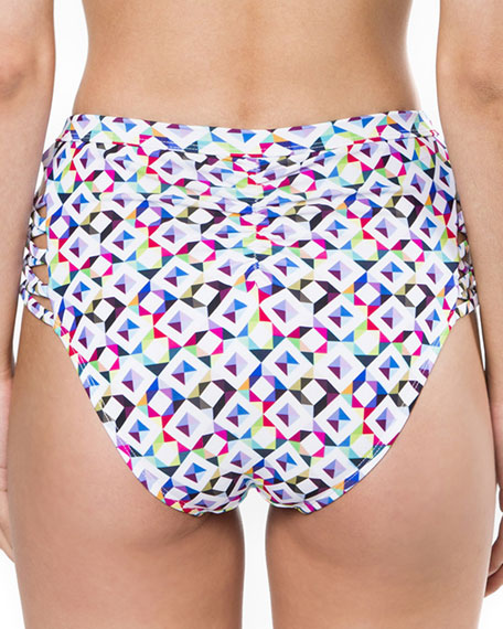 Pearl Island Geometric-Print Swim Bottom
