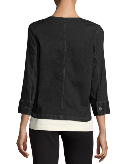 3/4-Sleeve Denim Jacket, Plus Size