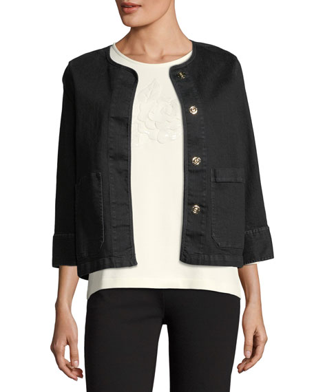 Joan Vass 3/4-Sleeve Denim Jacket, Plus Size