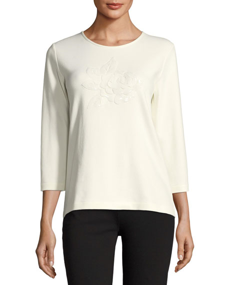 Floral Applique 3/4-Sleeve Tee, Plus Size