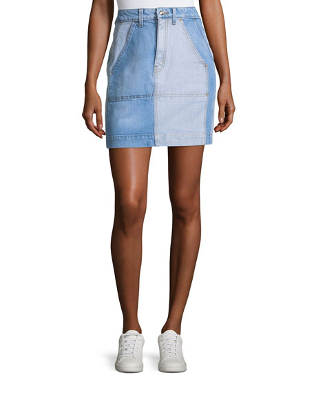 Lyla High-Rise A-Line Two-Tone Denim Skirt
