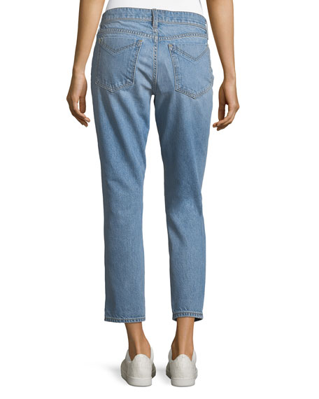 Derek Lam 10 Crosby Mila Mid-Rise Slim Girlfriend Jeans w/ Distressing