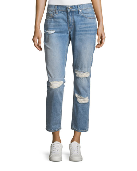 Mila Mid-Rise Slim Girlfriend Jeans w/ Distressing