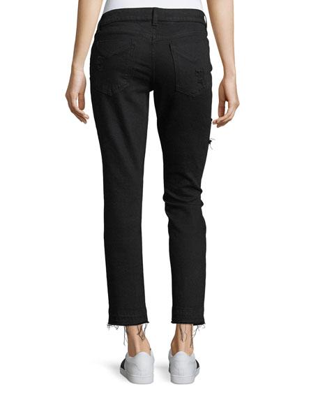 Mila Mid-Rise Slim Girlfriend Jeans w/ Patchwork