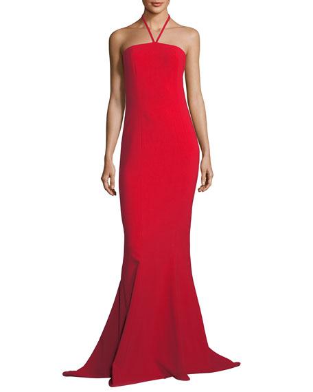 Viseroy Halter-Strap Trumpet Evening Gown