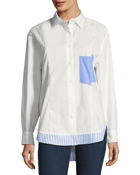 Derek Lam 10 Crosby Long-Sleeve Mixed Button-Down Poplin