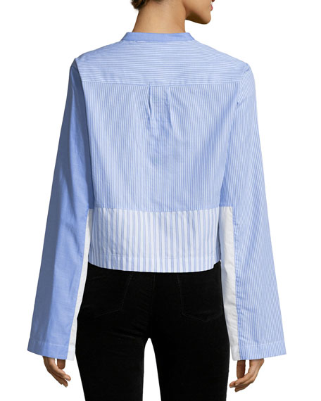 Long-Sleeve Button-Front Mixed Stripe Tuxedo Shirt
