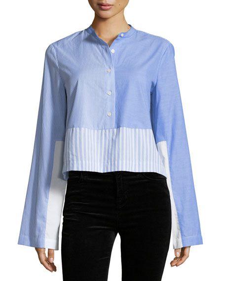 Derek Lam 10 Crosby Long-Sleeve Button-Front Mixed Stripe