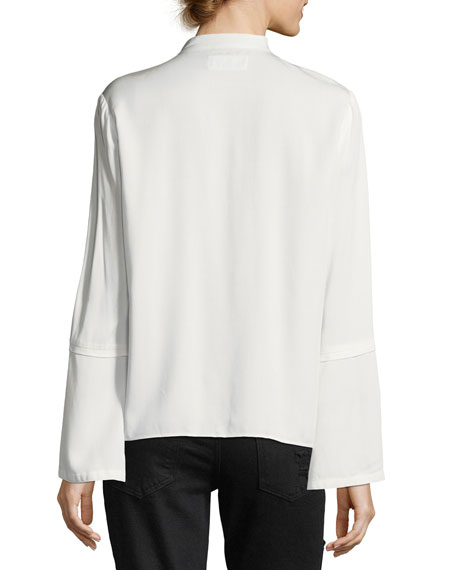 Bell-Sleeve Pintuck Button-Front Blouse
