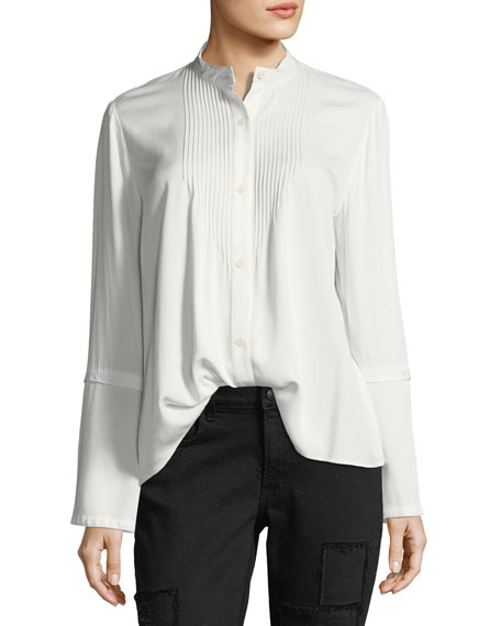Derek Lam 10 Crosby Bell-Sleeve Pintuck Button-Front Blouse