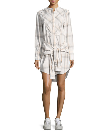 Grid-Print Collarless Tie-Waist Shirtdress