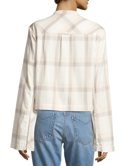 Wide-Sleeve Grid-Print Cropped Cotton Shirt