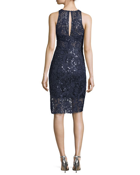 Embellished Lace Sleeveless Sheath Cocktail Dress