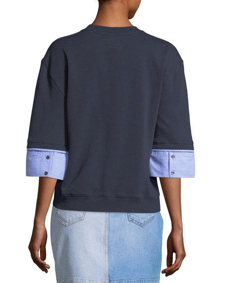 Crewneck Half-Sleeve Wool-Blend Sweatshirt w/ Shirting Cuffs