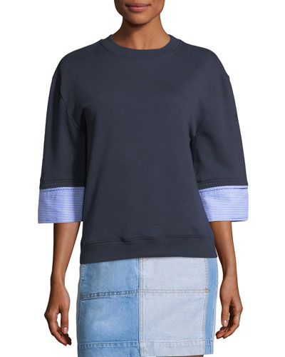 Crewneck Half-Sleeve Wool-Blend Sweatshirt w/ Shirting Cuffs