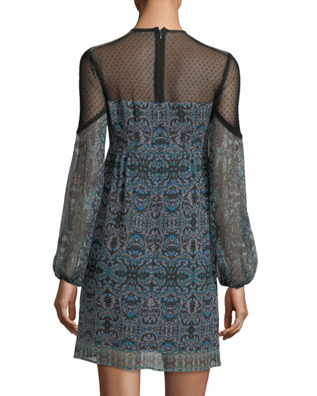 Adeline Mock-Neck Printed Silk Shift Dress