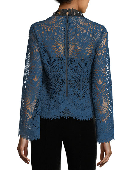 Audrey Mock-Neck Lace Top