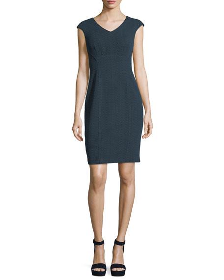 Nanette Lepore Sophia V-Neck Cap-Sleeve Textured Sheath Dress