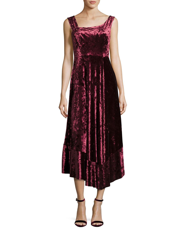Vixen Asymmetric Neck Sleeveless Velvet Dress