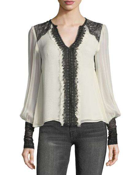 Nanette Lepore Henrietta Split-Neck Silk Blouse w/ Lace