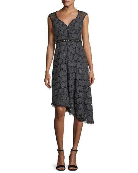 Nanette Lepore Beatrice Sweetheart-Neck Paisley Jacquard Dress