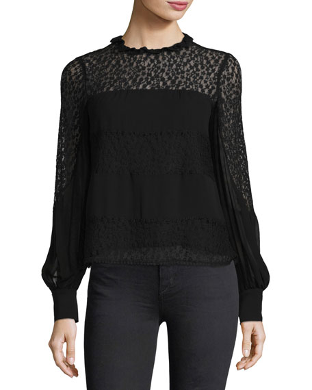 Nanette Lepore Jezebel Long-Sleeve Semi-sheerChiffon Blouse and
