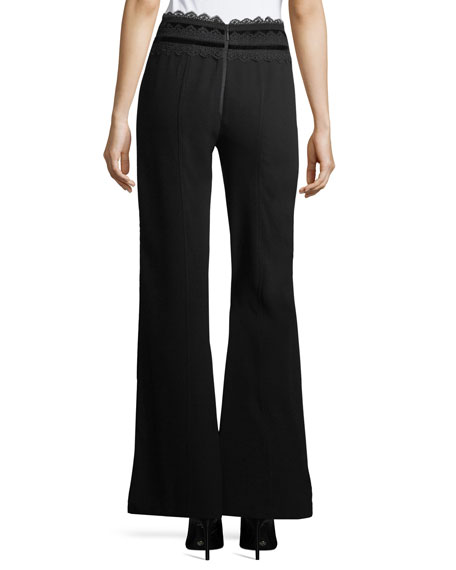 Penelope Flared Crepe Pants w/ Lace
