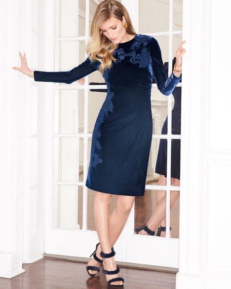 Jewel-Neck Long-Sleeve Velvet Cocktail Dress w/ Lace Appliques