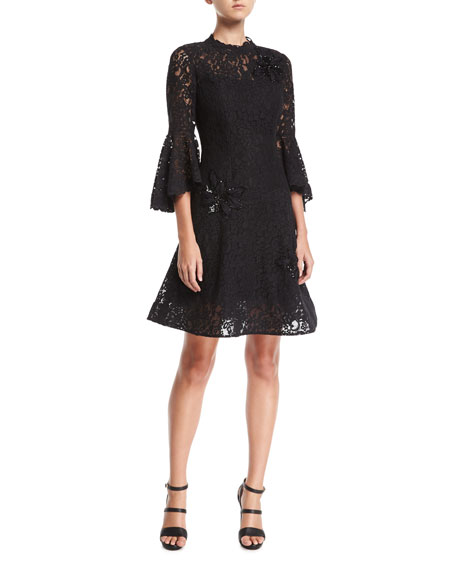 Rickie Freeman for Teri Jon Lace High-Neck Fit-and-Flare