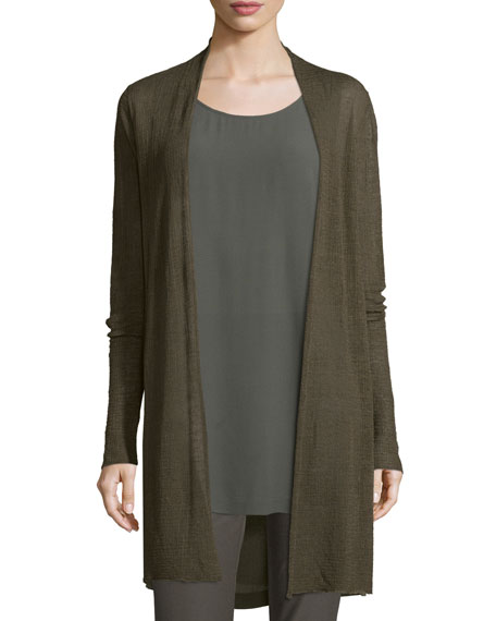 Eileen Fisher Sheer Hemp Grid Long Cardigan, Petite
