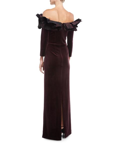 Off-the-Shoulder Taffeta Ruffle Velvet Evening Gown