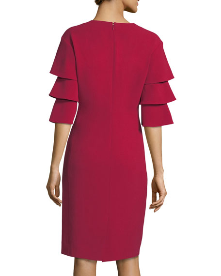 3-Tier-Sleeve Crepe Sheath Cocktail Dress