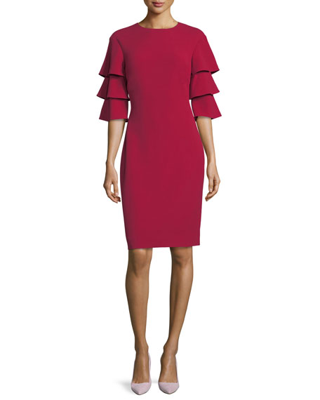 Rickie Freeman for Teri Jon 3-Tier-Sleeve Crepe Sheath